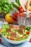 Unhealthy Vegetable salad with preservatives Royalty Free Stock Image