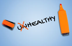 Unhealthy word Stock Images