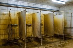 Unhygienic public showers room. Wet and mold ceramic tiles wall. Unhygienic public showers room. Wet, mold, rusty ceramic tiles wall royalty free stock photo