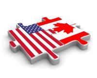 União americana canadense Foto de Stock