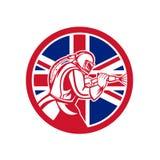 Uni?o brit?nica Jack Flag Circle do sopro de abrasivo do Sandblaster ilustração royalty free