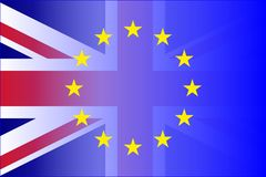 União BRITÂNICA e bandeira Fade Brexit da UE ilustração do vetor