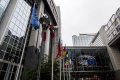 União Europeia Bruxelas Bélgica de Parlamento Europeu de Brexit das bandeiras Fotografia de Stock