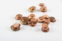 União Europeia como o mapa das euro- moedas Fotografia de Stock Royalty Free