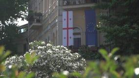 A União Europeia e as bandeiras Georgian filme