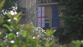 A União Europeia e as bandeiras Georgian vídeos de arquivo