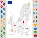 União Europeia Grey Map com marcadores Fotografia de Stock Royalty Free