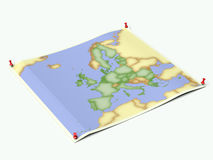 União Europeia na folha unfolded do mapa Imagens de Stock Royalty Free