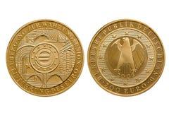 União Monetária 2002 de moeda de ouro do Euro da República Federal da Alemanha 200 fotos de stock