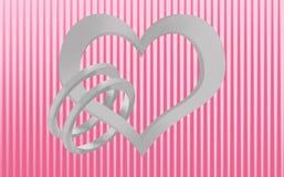 Unión, corazón y anillos de bodas Foto de archivo