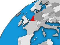 Unión de Benelux en el globo 3D stock de ilustración
