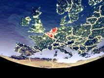 Unión de Benelux en la noche del espacio stock de ilustración