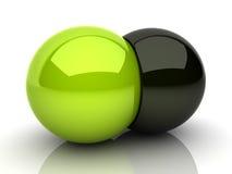 Unión de dos esferas Imagen de archivo