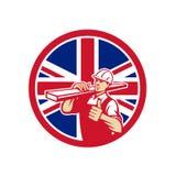 Unión de trabajador británica de la yarda de madera de construcción Jack Flag Icon ilustración del vector