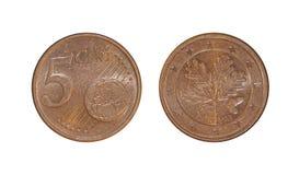 Unión europea cinco centavos imagen de archivo