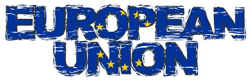 UNIÓN EUROPEA del texto con la bandera de la UE debajo de ella, mirada apenada del grunge libre illustration