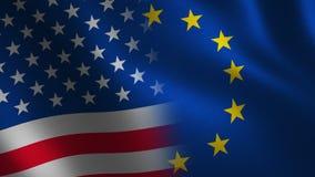 Unión europea y bandera de los E.E.U.U. que agita 3d transición Alpha Channel