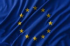 Unión europea y x28; UE y x29; señale la pintura por medio de una bandera sobre el alto detalle de las telas de algodón de la ond stock de ilustración