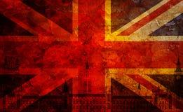 Unión Jack Flag Grunge Texture Background del palacio de Westminster Imágenes de archivo libres de regalías
