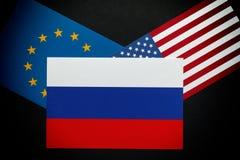 Unión rusa y europea y banderas americanas Fotografía de archivo