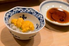 Uni and sushi rice Stock Photography