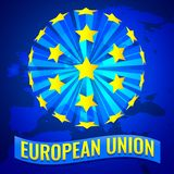 Unia Europejska sztandaru Wektorowa ilustracja z Europa mapą royalty ilustracja