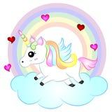 Unicórnio bonito do vetor dos desenhos animados com arco-íris ilustração royalty free