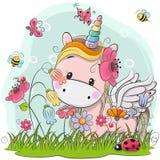 Unicórnio bonito dos desenhos animados em um prado ilustração stock
