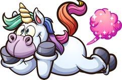 Unicórnio bonito dos desenhos animados farting Imagem de Stock Royalty Free
