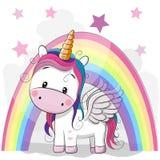 Unicórnio bonito e arco-íris dos desenhos animados ilustração stock