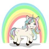 Unicórnio bonito e arco-íris dos desenhos animados no branco ilustração do vetor