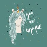 Unicórnio bonito mágico ilustração stock