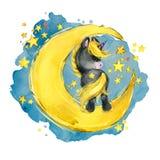 Unicórnio bonito na lua ilustração do céu do conto de fadas da noite da aquarela fotos de stock