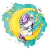 Unicórnio bonito na lua ilustração do céu do conto de fadas da noite da aquarela fotografia de stock