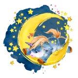 Unicórnio bonito na lua ilustração do céu do conto de fadas da noite da aquarela imagens de stock royalty free