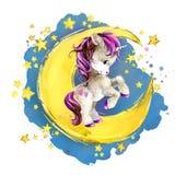 Unicórnio bonito na lua ilustração do céu do conto de fadas da noite da aquarela imagem de stock royalty free