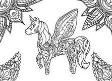 Unicórnio com mandala e ornamento de paisley Página adulta horizontal da coloração Foto de Stock Royalty Free