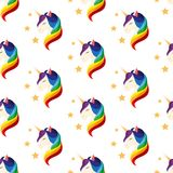 Unicórnio com olhos fechados Juba do arco-íris Vetor sem emenda Fotos de Stock Royalty Free