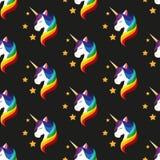 Unicórnio com olhos fechados Juba do arco-íris Vetor sem emenda Foto de Stock Royalty Free