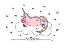 Unicórnio cor-de-rosa do vetor em uma nuvem entre as estrelas ilustração royalty free