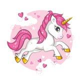 Unicórnio cor-de-rosa pequeno ilustração royalty free