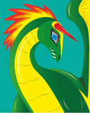 Unicórnio do dragão verde. ilustração stock