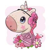 Unicórnio dos desenhos animados com flores em um fundo cor-de-rosa ilustração do vetor