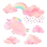 Unicórnio e nuvens da aquarela com chuva e arco-íris fotografia de stock royalty free