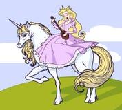 Unicórnio e princesa Fotografia de Stock Royalty Free