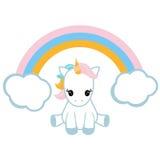 Unicórnio e um arco-íris Fotografia de Stock Royalty Free