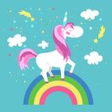 Unicórnio feericamente com arco-íris Ilustração do vetor Imagens de Stock