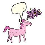 unicórnio mágico dos desenhos animados com bolha do discurso Imagens de Stock Royalty Free