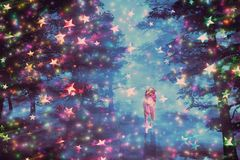 Unicórnio na floresta estrelado Foto de Stock Royalty Free