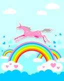 Unicórnio no arco-íris Fotos de Stock